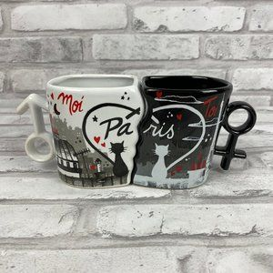 Set of 2 Paris Black White Fitted Mugs Cats Love
